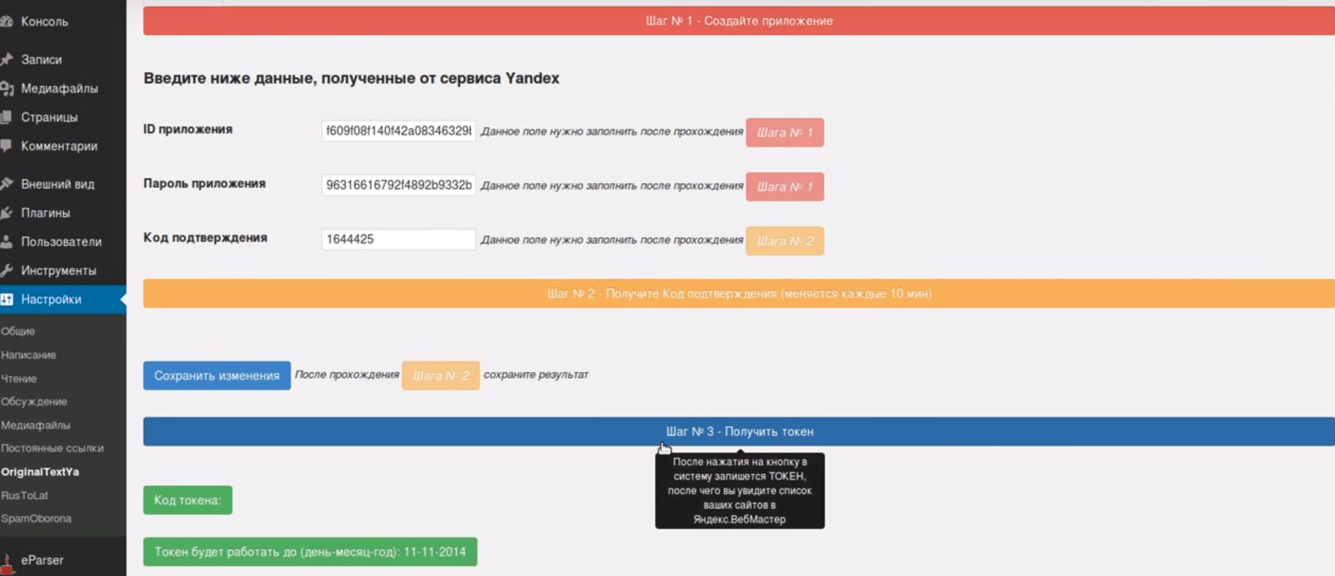 Установка плагина Original texts Yandex WebMaster Третий шаг