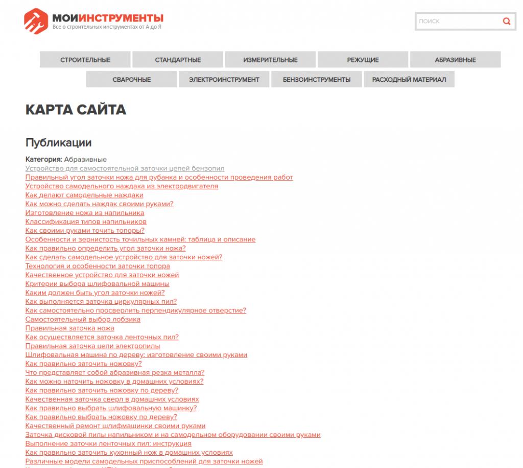 Пример HTML-карты сайта
