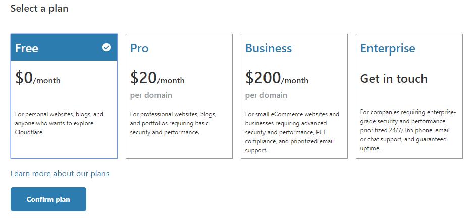 Выбираем бесплатный тариф на Cloudflare