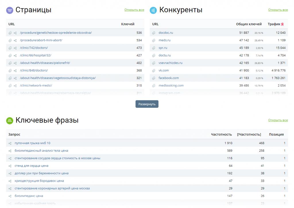 Результаты проверки сайта для покупки через key.so