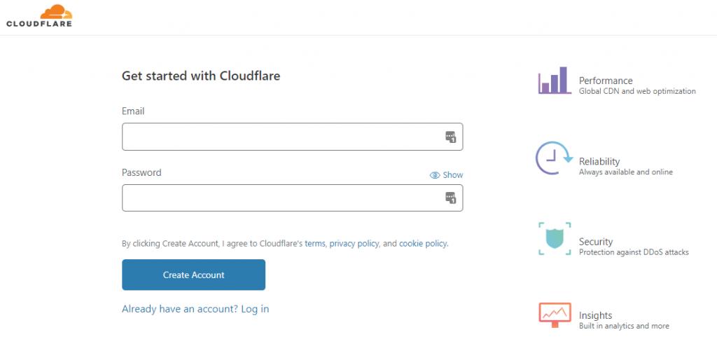 Создание учетной записи Cloudflare