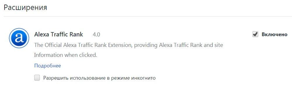 Расширение для браузера Alexa Rank