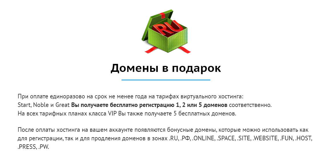 """скриншот акции """"домены в подарок"""""""