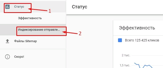Пример Google Search Console