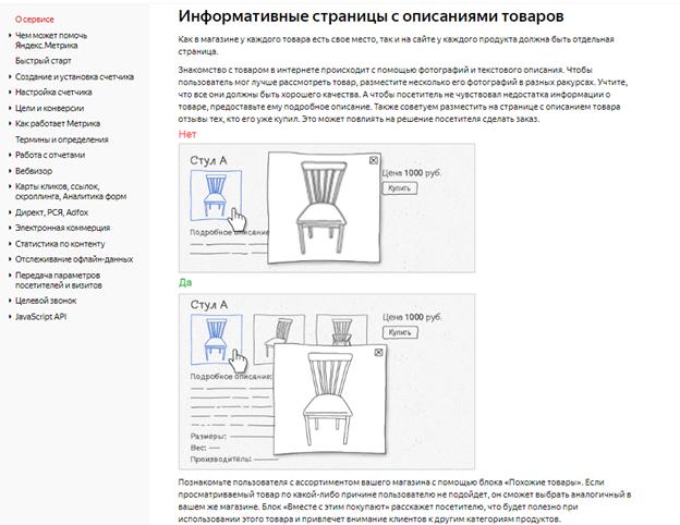 Информативные страницы с описаниями товаров
