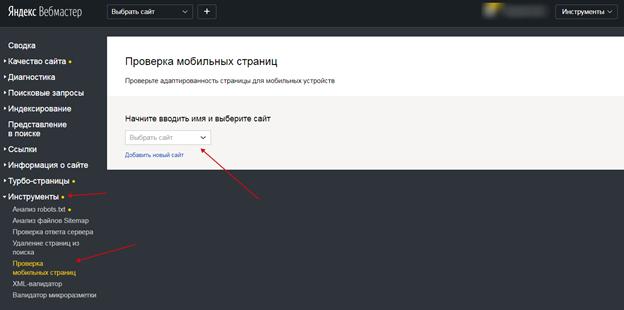 Пример проверки сайта