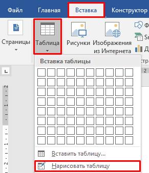 Нарисовать таблицу