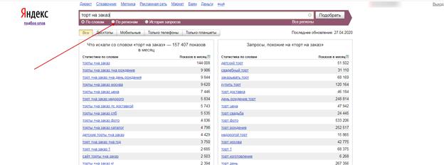 Пример Яндекс подбор слов