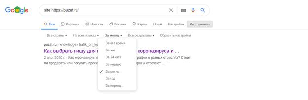 Количество страниц проиндексированный за определенное время
